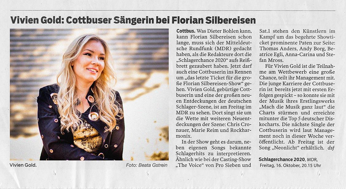 Presseartikel Lausitzer Rundschau: Vivien Gold in Florian Silbereisen Show