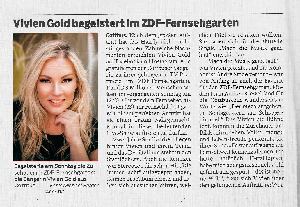 Lausitzer Rundschau: Vivien Gold begeistert im ZDF-Fernsehgarten